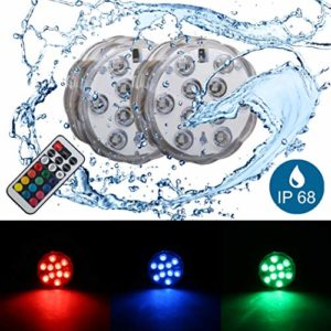 B.K. Licht lumière sous l'eau, éclairage LED submersible, éclairage décoratif sous l'eau submersible, luminaire étanche vase piscine, luminaire multicouleur télécommandé, 230V, IP68, Ø 70 mm