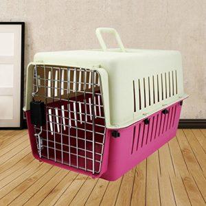 Boîte À Air Pour Animaux De Compagnie Chien Chat Chat Sac Portable Cage Air Transport Boîte Pour Animaux Avion Cage Valise Grande , Rose Red , L