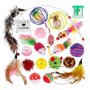CarJTY Jouets pour Chat Jouets Kitten Toys,Ensemble de 20 pièces,Un Pack de variétés de Jouets interactifs pour Souris et Chats avec Plumes