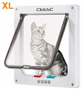 CEESC Grande chatière (Taille extérieure 27.94cm x 24.89cm),Porte pour Chat verrouillable à 4 Voies pour fenêtres et Porte coulissante en Verre pour Petits Chiens de circonférence