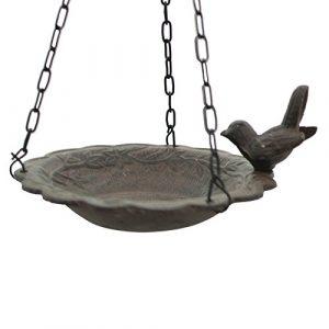 chemin_de_campagne Bain d'Oiseau Mangeoire à Suspendre avec Chaîne de Jardin ø 21 cm