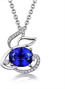 Collier 18ct Or Blanc Naturel Tanzanite Pendentif Diamant for Les Femmes, Le Type Gem: Tanzanite 5