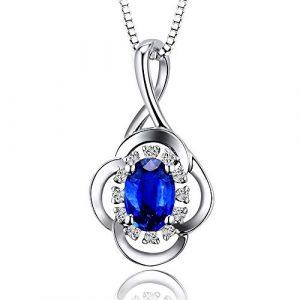 Collier 9 CT/Or 14 carats Blanc Diamant Naturel Saphir Pendentif for Les Femmes, Type de Gem: Sapphire 5