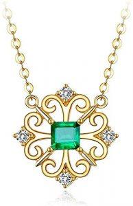 Collier Or Diamond Shishang avec des Cadeaux Vert émeraude Pendentif Bijoux for Femmes Anniversaire Cadeau d'anniversaire for Girlfriend Maman Epouse
