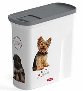 CURVER | Verseuse 2L/1Kg – Love pets – Chiens, Blanc, Pet dry food container, 20,6×8,7×19,3 cm