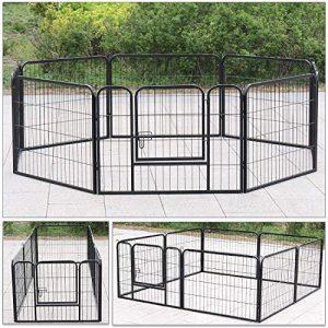 D4P Display4top Clôture pour Animaux de Compagnie Parc pour Chiens Enclos pour Chiens Chat Lapin Intérieur/extérieur, 8 Panneaux, Noir (80cm X 80cm)