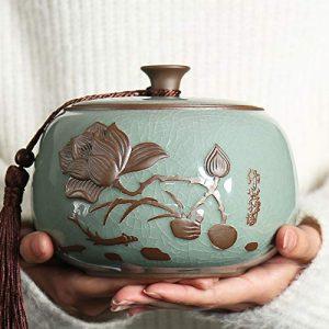 DALEI Funérailles Crémation Urnes pour Animaux Cendres Moyennes – Fabriqué en céramique et à la Main (14 * 11cm)