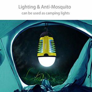 Dewel Lampe Anti-Moustiques 2 en 1 sans Fils Pièges à Moustiques 3W avec Éclairage 4W Imperméable IP44 Accroché pour Camping Extérieur