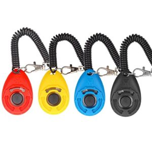 Diyife – 4 clickers multicolores pour chien – Clicker d'entrainement avec dragonne pour chien, chat, cheval