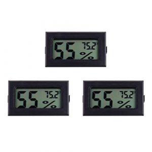 DOITOOL 3 Pcs Mini Hygromètre Numérique Thermomètre LCD Affichage Fahrenheit Humidimètre Thermomètre Intérieur Humidité pour Humidificateurs Serre Jardin Cave Réfrigérateur Placard (Noir)