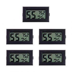 DOITOOL 5Pcs Mini Hygromètre Numérique Thermomètre LCD Affichage Humidimètre Fahrenheit Thermomètre Intérieur Humidité pour Humidificateurs Serre Jardin Cave Réfrigérateur Placard (Noir)