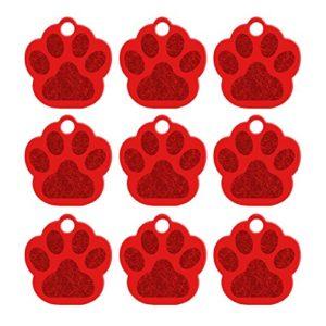 Doitsa 1PCS Carte d'identité Étiquettes de chien Griffe de chien Bibelots créatifs perdus Carte de compagnie Tag Teddy Golden Retriever Décoration pour chien size 35mm*33mm*1.2mm (Rouge)