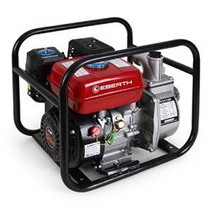 EBERTH 2″ Pompe à eau thermique (30.000 l/h, 5,5 CV Moteur à essence, Connection 2 Pouces, 30m Hauteur de refoulement, 7m Hauteur d'aspiration)