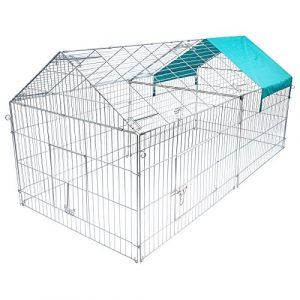 EUGAD Parc pour Petits Animaux Enclos extérieur pour lapains Parc extérieur en métal Cage extérieur avec Protection 220 * 103 * 103cm 0200HT