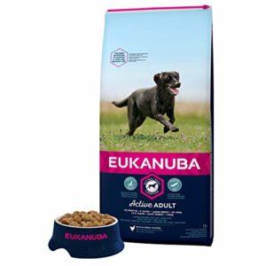 Eukanuba – Croquettes Premium pour Chiens Adultes Grandes Races – Alimentation 100% Complète et Equilibrée, sans OGM – Au Poulet – 15kg
