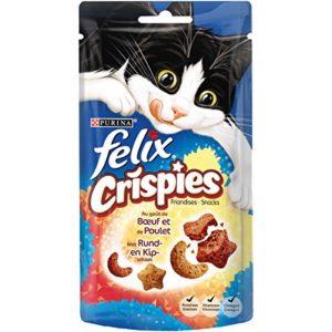 Felix Crispies : Bœuf Poulet – 45 g – Friandises pour Chat – Lot de 8