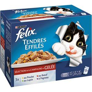Felix Tendres Effilés en Gelée Viandes – 12 x 100 g – Sachets repas pour Chat Adulte – Lot de 6
