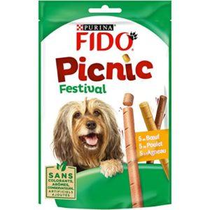 Fido Picnic Festival : au Bœuf, au Poulet, à l'Agneau – 126 g – Friandises pour Chien – Lot de 8