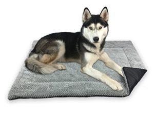 FLUFFINO Couverture de chien – Fluffy, doux et doux Lavable (taille L ou S, gris) – Résistance au glissement accrue grâce à des boutons en caoutchouc – Pour les grands u. petits chiens ou chats – tapis de chien / oreillers pour chiens, couverture de chat