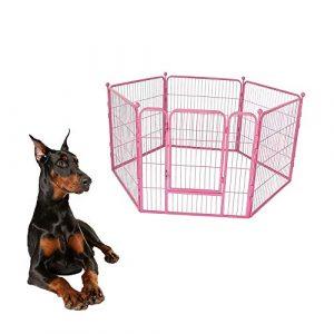 FXQIN Parc pour Animaux de Compagnie, clôtures pour Chiens intérieures/extérieures Amovibles avec Porte – Assemblage Facile de 6 Panneaux, Convient pour Divers Animaux,Pink