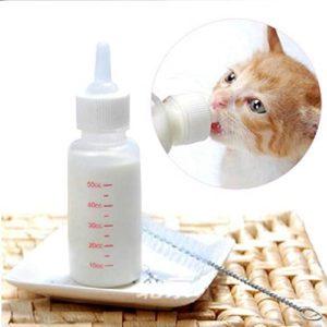 Gaocheng Kit D'Allaitement au biberon pour Bébé Chien, Chat, Lapin – Tétine et goupillon de Nettoyage – 50 ML