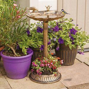 GardenKraft Bain pour Oiseaux Coquille de palourde avec Base jardinière Bronze