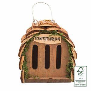 Gardigo Hôtel pour papillon | maison, abri à coccinelle abeilles et pour plusieurs insectes | en bois naturel | facile à suspendre – Idée cadeau Noël