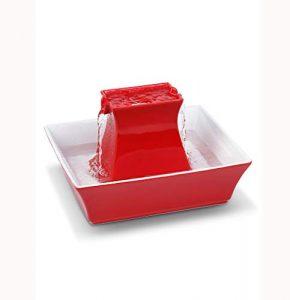 GBY Fontaine à Boire Automatique en céramique pour Animaux de Compagnie, Fontaine à Eau 2L pour Chat et Chien, adaptée aux Petits Chiens et Chats, Rouge, 30 * 30 * 21cm