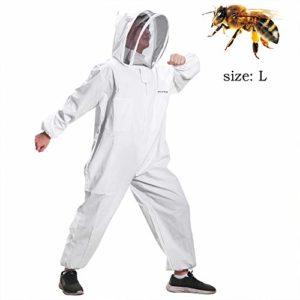 Greenbang Costume Apiculture, Super Épais Apicole Costume Pliable Escrime Voile Combinaison Bee Protection Costume Smock avec Fermeture Éclair Avant (L)
