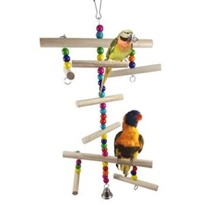 Gudhi Perles de Bois Parrot Bird Jouet Escalier écureuil escaliers Debout Jouet (Coloré)