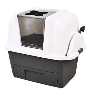 HJBH Semi-Automatique de Bras Swing bac à litière de Chat entièrement Clos Cat Toilette Déodorant Transparent Toit ouvrant Pet WC WC Animaux