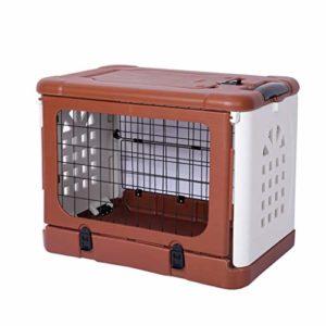 Jlxl Chat Litière Plateau Pliant Animal De Compagnie Cage Air Boîte pour Chiot Toilette Nettoyer Facile Pleinement Enfermé Toile (Couleur : Brown, Taille : M.91x61x71cm)