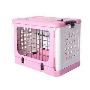 Jlxl Chat Litière Plateau Pliant Animal De Compagnie Cage Air Boîte pour Chiot Toilette Nettoyer Facile Pleinement Enfermé Toile (Couleur : Pink, Taille : M.91x61x71cm)