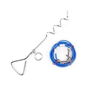 JunBo Set Câbles et Piquets d'attache pour Chien en Acier Inoxydable pour Exterieur Jardin Cour (5M, Bleu)