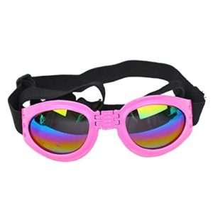 Kaisir Animaux de compagnie chien chat protection UV des lunettes de soleil pliable lentilles oeil protection contre l'usure avec sangle réglable (rose)