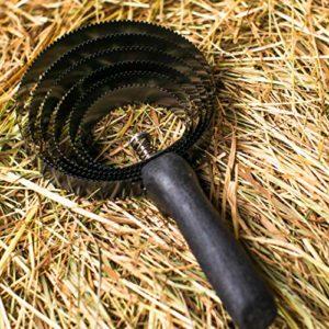 Levier à ressort 6 couches pour chevaux – Maillage métallique avec manche en bois pour le nettoyage de la saleté grossière – Cône en spirale idéal pour le changement de pelage et l'épilation