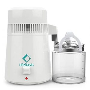 LifeBasis Distillateur d'eau 4L Machine d'eau Distillée 750W avec Carafe en Verre pour Domicile Dentaire Hôpital et Laboratoire avec Un Testeur TDS