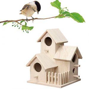 Luccase Nid d'oiseau Créatif Maison d'oiseau Mise à Niveau Petite Villa Cage Plein air Fixé au Mur en Bois Confortable et Magnifique pour Votre Petit Oiseaux/Canari/Perroquet/Coucou etc.
