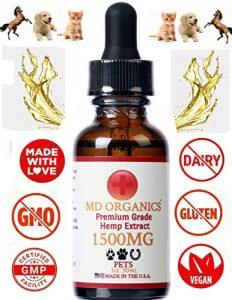 MD Organics 1500 MG Pur Organique Chanvre Pet Oil Chien Chat Soulagement de la Douleur Anxiété Vegan Stress Sommeil Grade Humain Laboratoire Testé