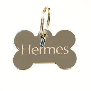 Médaille gravée pour chien OS argent pour moyen/grand chien, GRAVURE OFFERTE, Livraison ultra rapide. (4cm x 2.5cm)