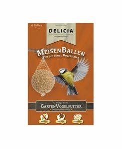 Mésange Delicia Balle de graisse pour oiseaux sauvages Doublure Hiver, Lot de 6