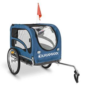 oneConcept King Rex Remorque à vélo pour transport d'animaux Attelage pour chien (contenance 250 L, charge maximale 40 kg, fanions, structure en acier) – bleu