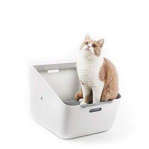 Owenqian-cwcs Toilette pour Chat et Chien Bac à litière Automatique for clôture for Animaux domestiques avec bac à litière for Chat Toilette pour Animaux (Couleur : Blanc, Taille : 507 * 374 * 350mm)
