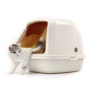 Owenqian-cwcs Toilette pour Chat et Chien Bac à litière for Chat de Grande capacité avec Cagoule à moitié Ouverte et Porte Principale for Animaux de Compagnie Toilette pour Animaux