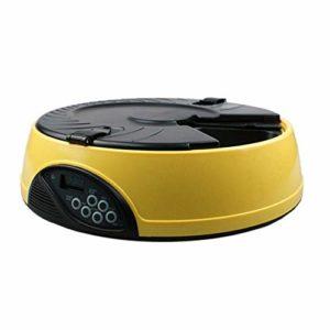 Pet Feeder 6 Meals, Distributeur Automatique d'aliments pour Animaux avec Rappel Vocal et réglage de la minuterie (Couleur : Jaune)