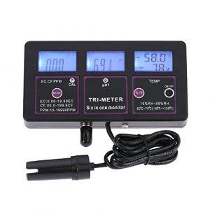 PH Mètre/EC/Température/RH/TDS/CF de l'eau,Moniteur professionnel numérique,Multifonctionnel 6 en 1 Testeur de qualité de l'eau Temps réel