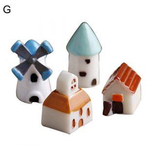 pittospwer Lot de 2/4 Mini Figurines en résine pour décoration de Jardin G (4pcs Windmill House) G