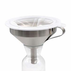 PROBEEALLYU Entonnoir avec Filtre en Acier Inoxydable 100 Filtre Filtre passoire à Miel/Confiture/vin 5,2 Pouces, Sac-Filtre Cadeau Inclus