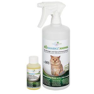 Produit Nettoyant et Eliminateur d'odeur Bio pour Chats Ecosharkz Animal – Spray désodorisant anti urine pour intérieurs avec chat et litière – Concentré de 50ml – jusqu'à 2L de solution nettoyante