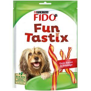 Purina Fido – batonnets torsades Fun Tastix – gout bacon / fromage – 150 g – Lot de 6